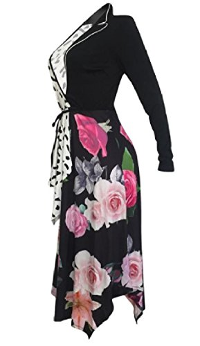 Printing Single Hem Dress Neck Women Black Sleeve Patched High Low V Coolred UpzB7xq0