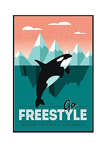 Pacific Northwest - Orca Whale - Go Freestyle (16x24 Framed Gallery Wrapped Stretched Canvas) by Lantern Press