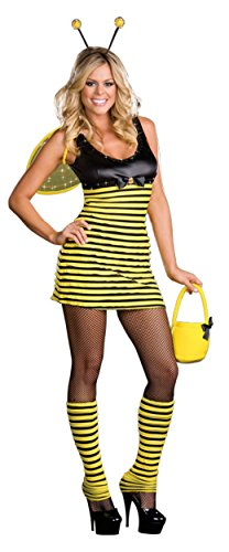 Plus Size Bumble Bee Adult Costumes (Dreamgirl Womens Buzzin' Around Bumble Bee Outfit Fancy Dress Sexy Costume, S (2-6))