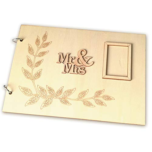 Price comparison product image liumiKK Personalized Guest Book Wooden Wedding Mr & Mrs Photo Guestbooks Signature Message Rustic Wedding Party Gifts