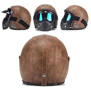 a38586b4413e DEARGENA バイクヘルメット フルフェイス 最新品 オートバイのヘルメット レトロ ハード帽子 ABS レザーヘルメット