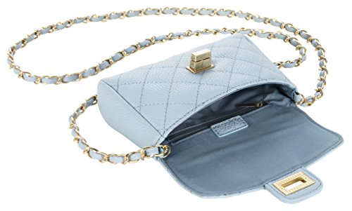 M&c Women's | Quilted Gold-Tone Chain Handbag (Baby Blue)