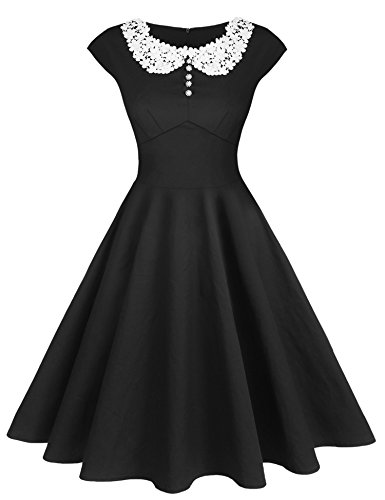 ACEVOG Women's Classic Hepburn Style Vintage Evening Dress for Party(Black,XXL)