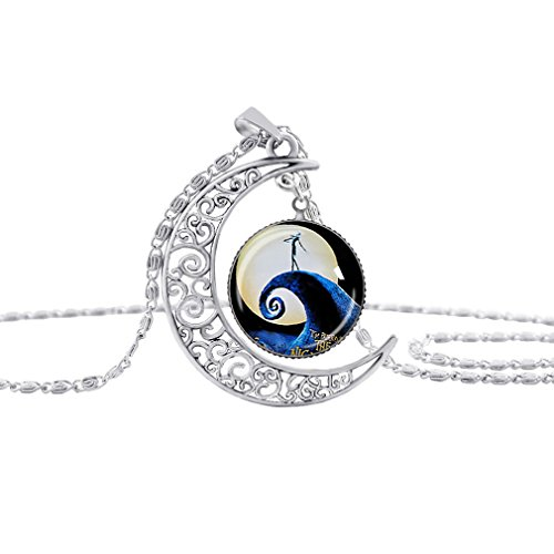 Dolland Glass Ball Moon Pendant Necklace, Love Gift for Girlfriend Wife, Romantic Gift,08# (Fan Pendant Necklace)