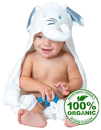 Organic Bamboo Baby Hooded Towel - Luxury Baby Bath Towel with Elephant Hood, Safe for Newborns with Sensitive Skin - Large Premium Hooded Towels for Boys & Girls + Bonus Bath Toy by Pupiki, 40x28