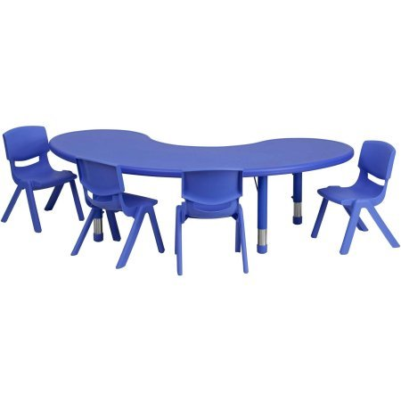 Blue 2 Piece Stack Chair (Flash Furniture 35''W x 65''L Adjustable Half-Moon Plastic Activity Table Set in Multiple colors with 4 School Stack Chairs (Blue))