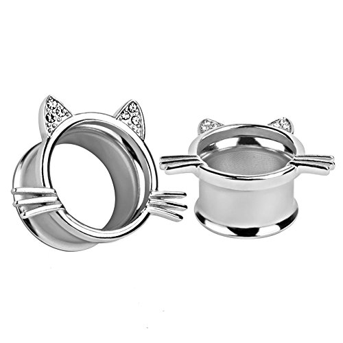 KUBOOZ(1 Pair) Cute Slivery Kitten Ear Plugs Tunnels Gauges Stretcher Piercings