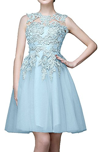 Promkleider Damen linie Himmel Blau Mini Rock Festlichkleider Cocktailkleider Braut Gelb La Abendkleider Spitze Partykleider mia A 7ZA6qnxY