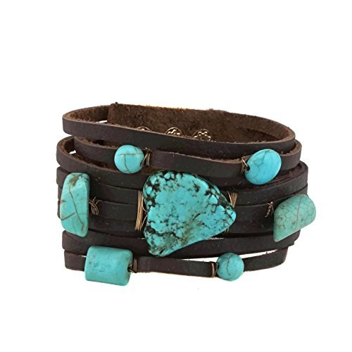 Semi Precious Stone Turquoise Leather Bracelet Button Closure (Turquoise) (Leather Jewelry)