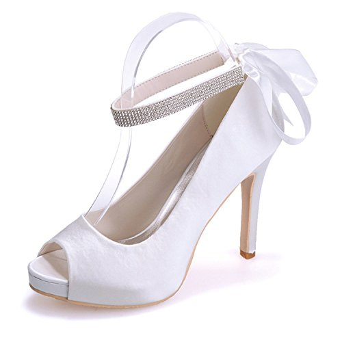 Sarahbridal Court Ribbon Party Peep White Heels Bow Women's Wedding Prom Shoes Pumps High Crystals Platform 04 Szxf6041 Satin Stiletto Toe rr1ZqwO