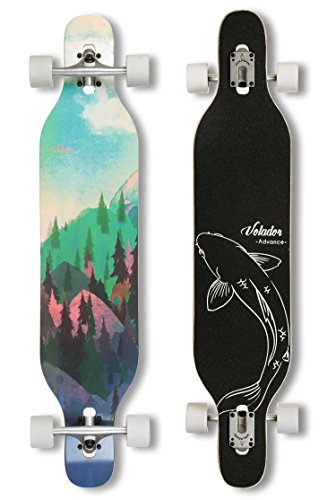(VOLADOR 42inch Freeride Longboard Complete Cruiser (Drop Through Deck - Camber concave)(Forest))