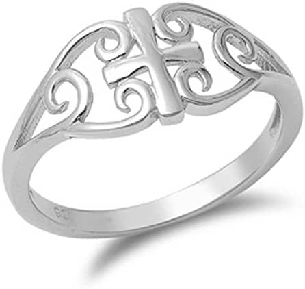 Women's Celtic Cross Filigree Unique Ring .925 Sterling Silver Band Sizes 4-10
