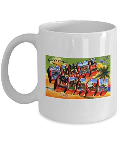 (Greetings from Miami Beach, Florida - Vintage Large Letter Postcard: Ceramic Coffee Mug)