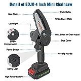Cordless Mini Chainsaw, EDJO Portable 4 Inch