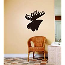 Moose Animals Picture Graphic Art - Room Home Decor - Vinyl Wall Decal Stickers - Decoration Ideas - Cheap Buy SALE ITEM - Size : 18 Inches X 18 Inches - 22 Colors Available