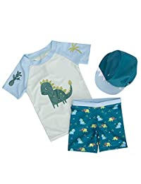 Bebamour Baby Swimwear Set Two Pieces Summer Short Sleeve Swimsuits Boys Casual T-Shirts Rash Guard Suits Size S-L