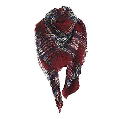 Pumsun Women Winter Warm Colored Grid Shawl Collar Ladies Long Printing Plaid Scarf (B)
