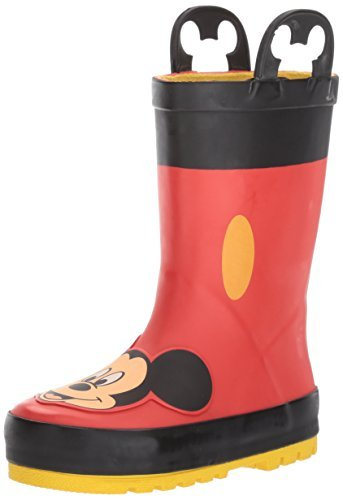 Western Chief Kids Waterproof Disney Character Rain Boots with Easy on Handles, Mickey Mouse, 9 M US - Boots Mouse Mickey