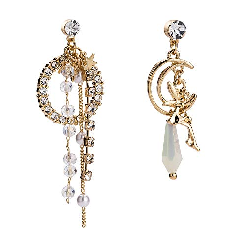 Dwcly Shining Crystal Moon with Lucky Unicorn Fairy Angel Long Drop Earring Pearl Accessories Earrings (Angel) - Necklace Moon Fairy