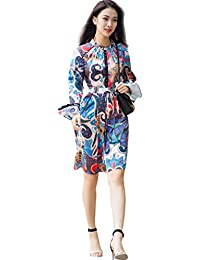 CG Women 's Boho Button up Split Floral Print Flowy Dress Long Butterfly Sleeves Elegant Dress