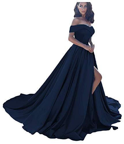 Homdor Split Off Shoulder Prom Evening Dress for Women A-Line Satin Formal Gown Navy Blue Size 16 -