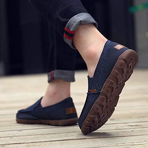 Blue Casual Canvas Da Uomo Holiday Mocassini Da Comfort Twin On FHTD Guida Deck Shoes Shoes Scarpe Leggere Gusset Slip w6UaqAY