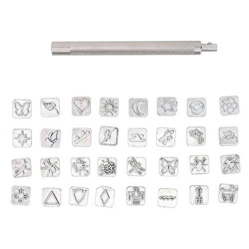 HEEPDD 32PCS Stamp Punch Set, Leathercarft Stamping Tool Set Cartoon Animal Plant Leather Working Saddle Making Tools for Imprinting Metal Wood Plastic Craft DIY(Animals and Plants)