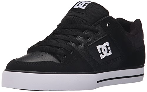 DC Men's Pure Action Skate Shoe Black/White, 9.5 D D US