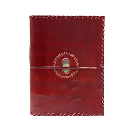 Extra Large Leather Photo Album Rustic with Green Bloody Agate Stone 13'' x 10'' Handmade Paper 46 Sheets by Terra Negra Studio