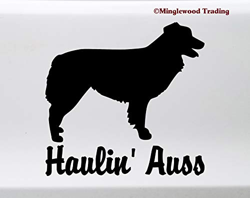 (Minglewood Trading Haulin' Auss Vinyl Sticker -V1- Australian Shepherd Aussie Dog Puppy - Die Cut Decal - 4w x 4h inches - Yellow)