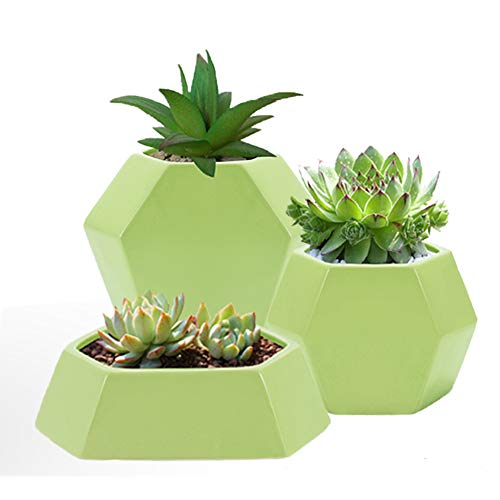 ❤️ Modern Flat Ceramic Geometric Planter Hexagon Succulent Plant Pot/Cactus Flower Pot/Container (Flat Green)