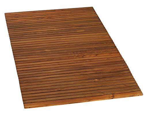 (Bare Decor 3 by 5' Oskar String Spa Shower Mat/Rug, X-Large, Solid Teak Wood Oiled Finish)