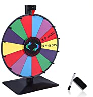AkTop 18 inch Tabletop Prize Wheel with Heavy Duty Stand, 14 Slots Color Dry Erase Game Spinner Wheel Easy to