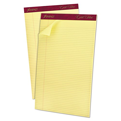 Ampad 20034 Gold Fibre Pads, 8 1/2 x 14, Canary, 50 Sheets (Pack of 12)