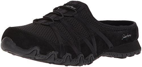 Skechers Womens Bikers-Fan Club-Sporty Slip-On Mesh-Bungee Relaxed Fit Mule Black