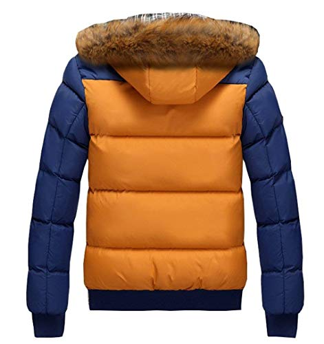 Warm Sleeve Coat Chaude Down Winter Jacket Outwear Brownblue Thick Hooded Men's Down Coat Lightweight Long Jacket Alternative Cotton PxFAWOq4