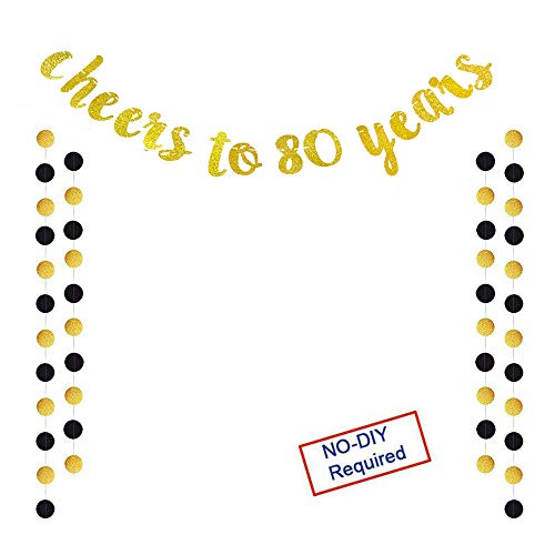 Glittery Gold Cheers to 80 Years Banner for 80th Birthday Wedding Anniversary Party Decoration ()