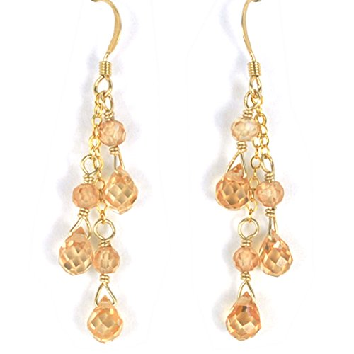 Champagne Cubic Zirconia Briolette Earrings Artisan Crafted in 14K Gold Filled (Earrings Drop Briolette Cubic Zirconia)