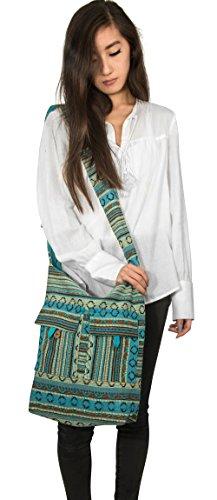 Tribe Azure Blue Aztec Canvas Large Hobo Cross body Shoulder Sling Slouch Casual Shopping Market Bag Photo #4
