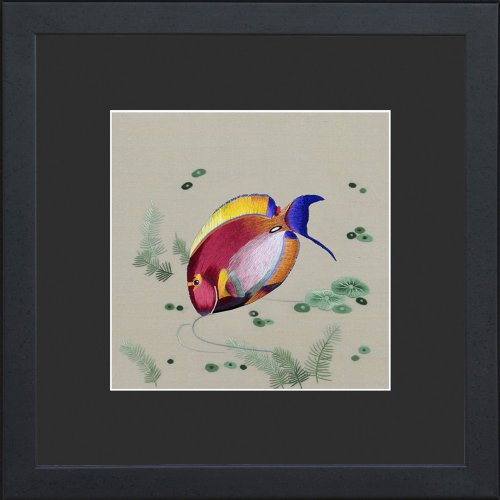 King Silk Art, 100% Handmade Suzhou Silk Embroidery, Framed Art 13x13 inch - Colorful Surgeonfish 32032BF