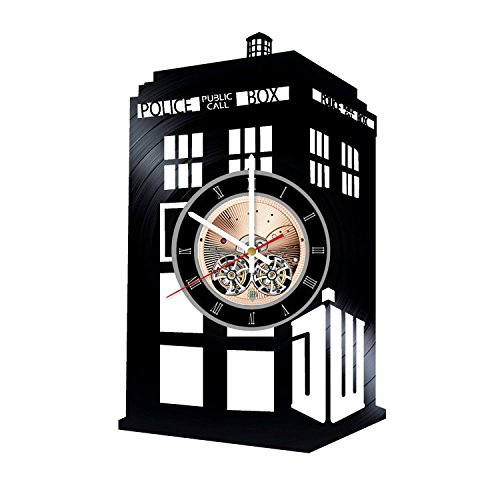 (Tardis Doctor Who Vinyl Record Wall Clock - Get unique Living Room wall decor - Gift ideas for boys and girls, friends – Movie Unique Modern Art)
