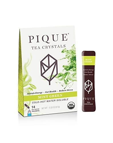 Pique Organic Mint Sencha Green Tea Crystals, Gut Health, Fasting, Calm, 14 Single Serve Sticks (Pack of 1)