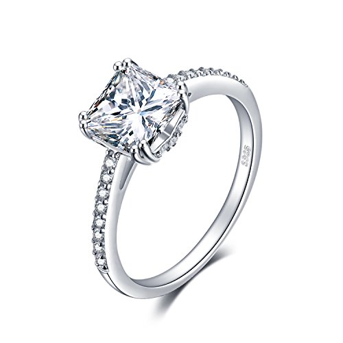 JewelryPalace 1.5ct Princess Cut Cubic Zirconia Anniversary Promise Solitaire Engagement Ring 925 Sterling Silver Size 8