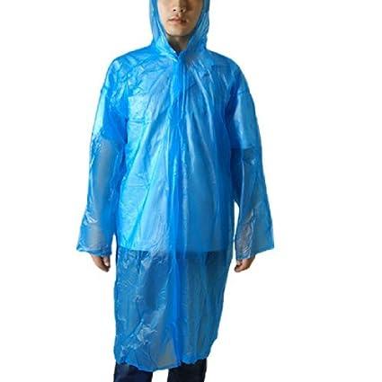 eDealMax Los adultos Solo pecho de plástico Con Capucha capa de Lluvia del Poncho Azul