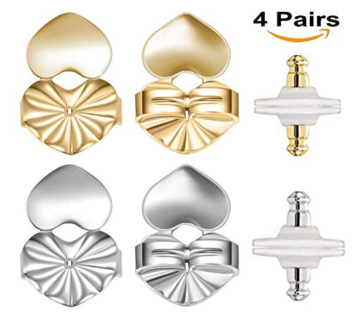 Earring Lifter Backs - 2 Pairs Earring Lifts (1 Pair of Sterling Silver and 1 Pair of 18K Gold Plated) + Bonus 2 Pairs Bullet Clutch Earring Backs