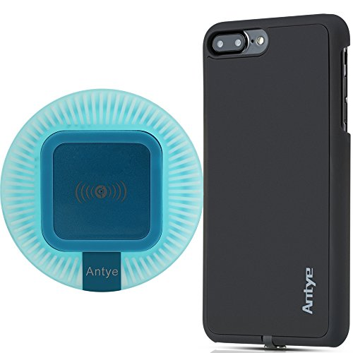 2-in-1 Qi Wireless Charger Kit for iPhone 7 Plus, Including Qi Charging Dock and Case | Flexible Lightning Connector | Delicate Rubber Black Case 5.5