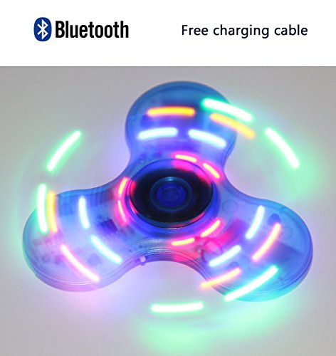 Crystal LED Light Switch MINI Bluetooth Speaker Music Fidget Spinner EDC Hand Spinner For Autism And Kids/Adult Funny Fidget Toy (Blue)
