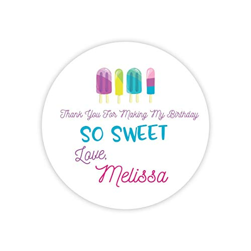 Personalized Popsicle Party Stickers Sweet Treat Birthday Decor Printable Party Circles Printable Popsicle Decor Stickers ()