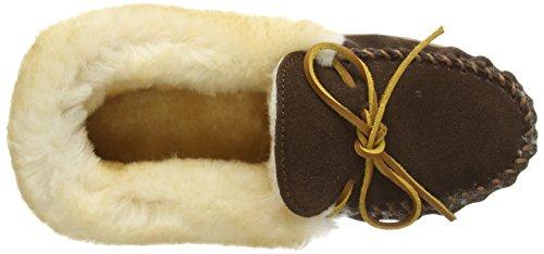 Flache Damen Sheepskin Alpine Hausschuhe Chocolate Moc Braun Minnetonka qpIz8wp