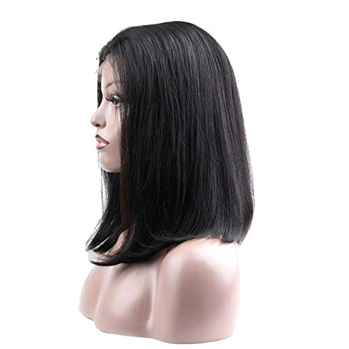 Dark Sky Small Natural - Bob Lace Front Wigs Pre Plucked Straight Brazilian 100% Human Hair Wig,Head Seam,12inches,Natural Color